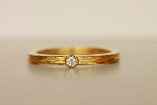Bague ECORCE 1 diamant - Or Jaune 18 ct
