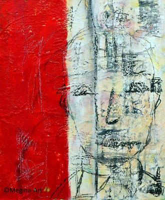 der Mann mit Rot, Encaustic auf Leinwand, 50x60