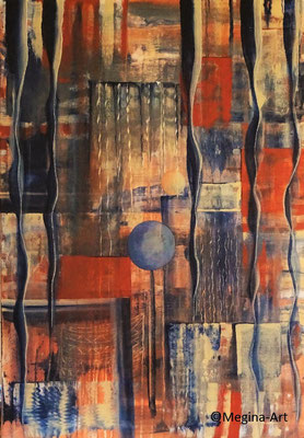 *hängen und schweben*, absrakt, Acryl 70x100