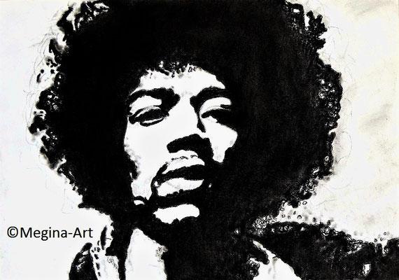 *Jimmy Hendrix*; Kohlezeichnung (verkauft)