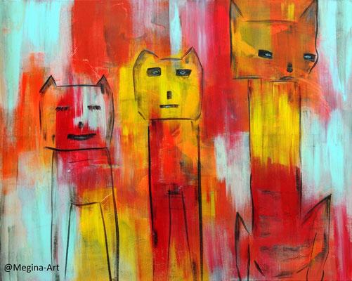 geschlossene Gesellschaft, Acryl auf Leinwand, 80x100