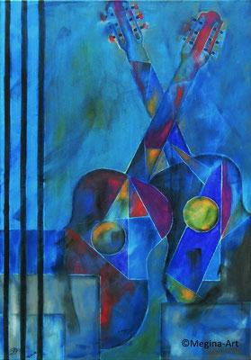 Gitarrenliebe, Acryl auf Leinwand, 70x100