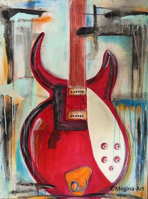 Gitarre II, Acryl auf Leinwand, 80x60
