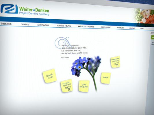 Projekt Demenz Arnsberg – Gestaltung der Webseite, CMS Contenido