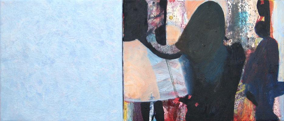 """Miniice-Lounge"", 30 x 70 cm, Wachs, Öl auf Leinen, 2007"