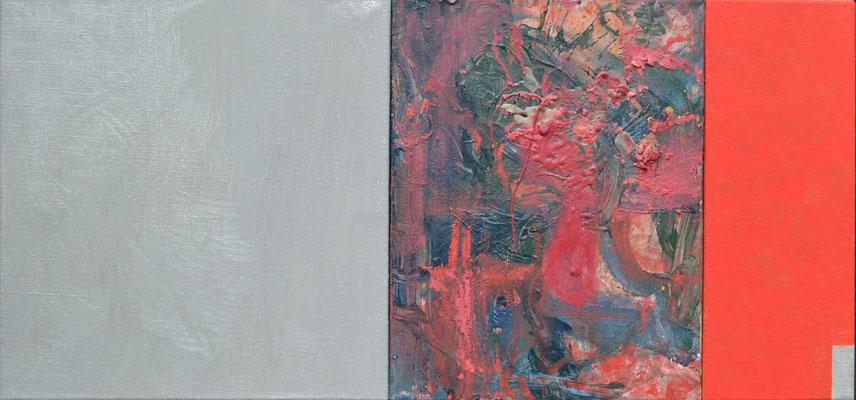"""Silber-Lounge"", 50 x 110 cm, Mischtechnik, 2013"