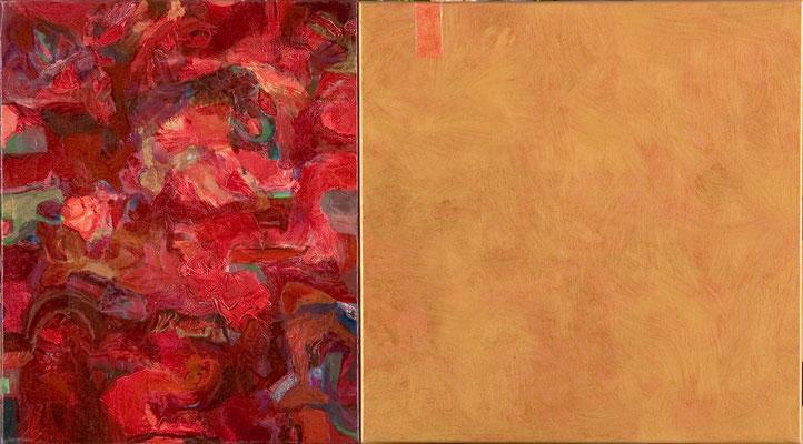 """""""Rosen-Lounge"""", 50 x 90 cm, Öl auf Leinen, 2003"""