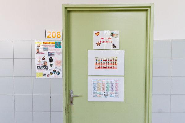 La porte de la salle d'espagnol.