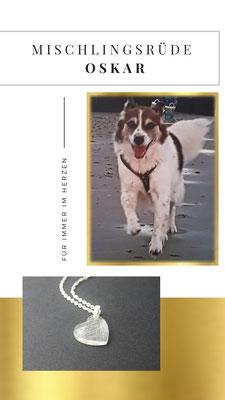 Einen kleinen Fellbüschel von Oskar gab es nur, denn der tolle Mischlingsrüde ist ganz plötzlich über die Regenbrücke gegangen. Kira wollte so gern eine Erinnerung von ihrem Oskar haben und so ist dieses tolle Herz entstanden.