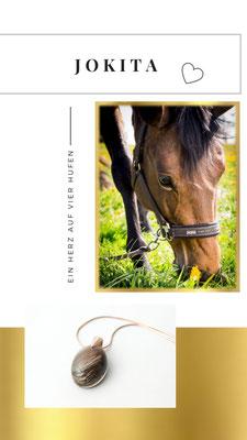In diesen wunderschönen kleinen ovalen Anhänger, hat sich Antonia das Fell von ihrem Pferd Jokita einarbeiten lassen.