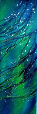 Unter Wasser, Öl und Blattgold auf Leinwand, 60x20cm, 150 €