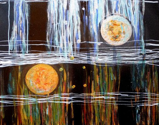 Two Moons, Acryl auf Leinwand in Mischtechnik, 24x30 cm, 100 €
