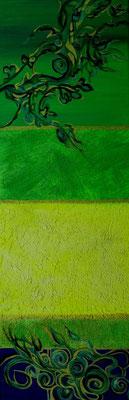Green, Öl und Spachtelmasse auf Leinwand, 60x20cm (verkauft)
