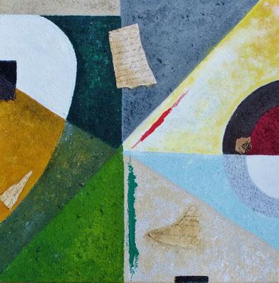 Secret Messages, Naturfarben auf Leinwand mit Acryl, 40x40 cm, 180 €