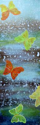 Schmetterlinge im Regen, Acryl auf Leinwand, 60x20cm, 160 €