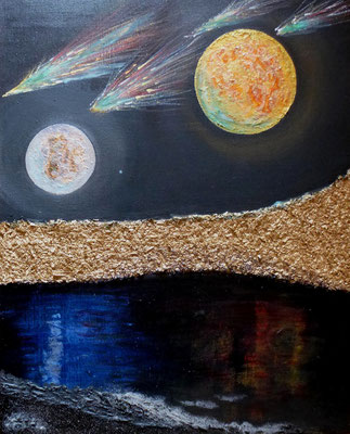 Mystic Night, Acryl auf echtem Leinen in Mischtechnik, 50x40, 230 €