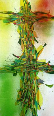 o.T. Lacke und Aquarellfarben auf Holz, 60x30cm, 200 €