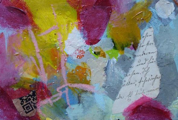 Hidden Messages III, Acryl auf Karton (11x16 cm)/ Casanirahmen, 30x30x6 cm, 40 €