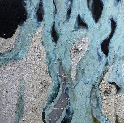 o.T. Naturfarben auf Leinwand, 30x30x3,5 cm, 120 €