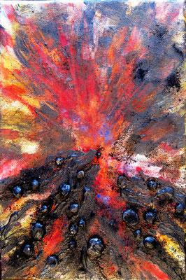 Vulkan. Acryl/Keramik auf Leinwand, Mischtechnik, 30x20 cm, 90 €