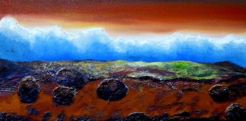 Feuerland, Öl auf Leinwand, Mischtechnik, 30x60 cm, 150 €