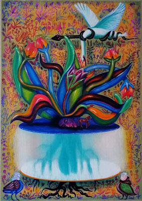 Mandragora 2020, Öl, Acryl, Leinwand, 100 x 70 cm
