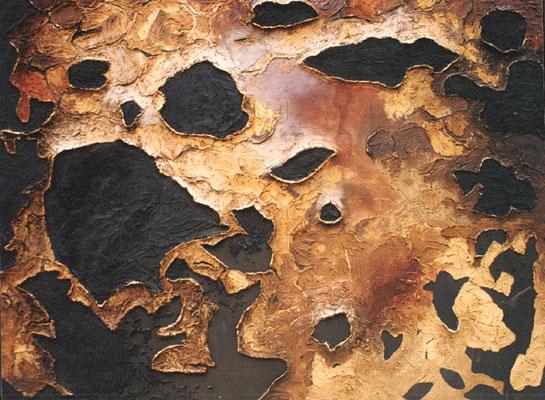 Tkacka, 1998, Holzspliter, Pigmente, Bindemittel, Holzplatte, 190 x 140 cm