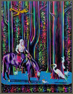 Auf der Suche nach Dame mit dem Einhorn, 2019, Öl, Acryl, Leinwand, 180 x 140 cm