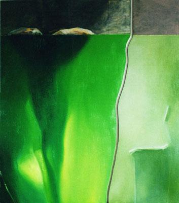 Schatten, II Teile, 2000, Öl, Leinwand, Holz, 150 x 130 cm