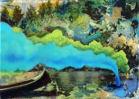 Dschinn - Dein Wunsch ist mir Befehl, 2017, Öl, Leinwand, Epoxidharz, 24 x 35 cm