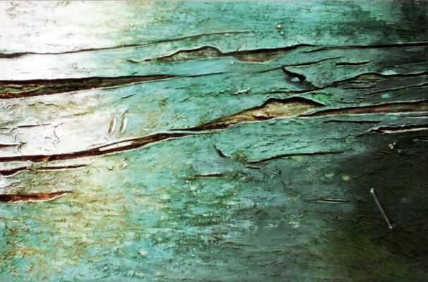 Ławka, 1998, Holzspliter, Pigmente, Bindemittel, Holzplatte, 190 x 120 cm