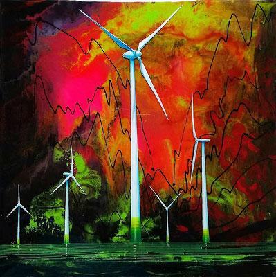 Wer hat Don Quijote gesehen?, 2017, Öl, Acryl, Leinwand, Epoxidharz, 30 x 30 cm