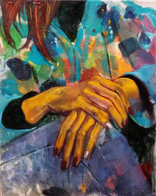 Goldenes Händchen, 2019, Öl, Leinwand, 24 x 30 cm