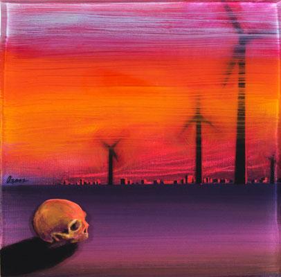 Don Quijotes Schädel, 2017, Öl, Acryl, Epoxidharz, Leinwand, 25 x 25 cm