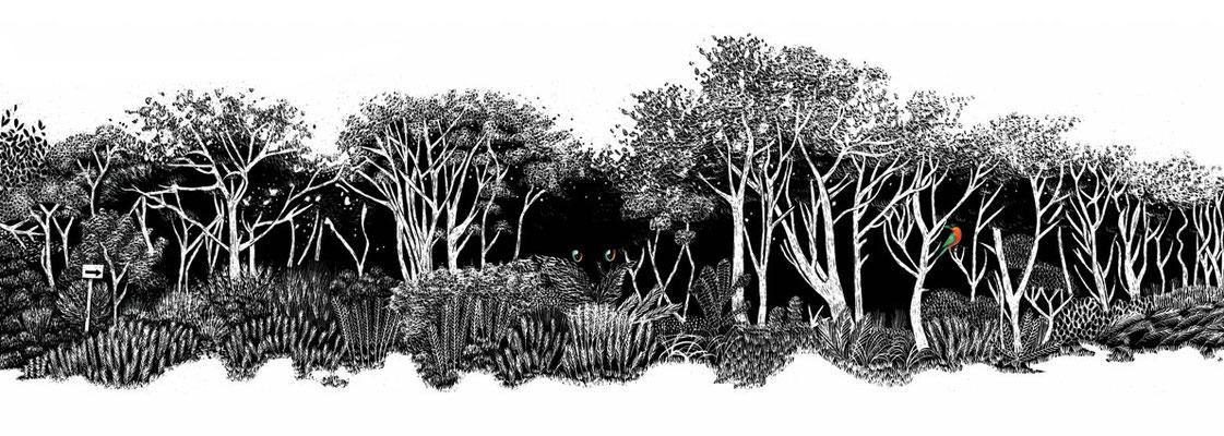 Magic Forest, 2018, scratchboard + digital
