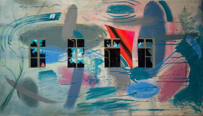 Pehlitz Nr. 1 2019, Öl, Acryl, Leinwand, 63 x 111 cm
