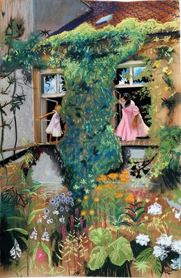 Pehlitz im Sommer, 2020 Pastellkreide, Papier 100 x 65 cm