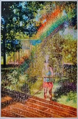 Am Ende des Regenbogens, 2020  Acryl, Öl, Pastelkreide, Baumwollpapier  100 x 65 cm