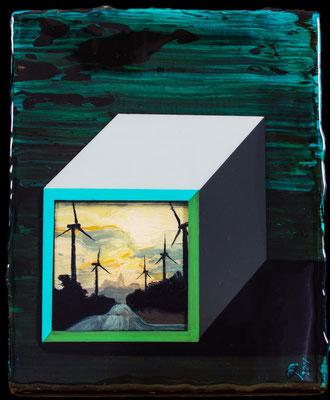 Cube of Space, 2017, Öl, Acryl, Epoxidharz, 21 x 28 cm