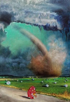 Dystopian landscape with utopian touch, 2021, Öl, Leinwand, 60 x 40 cm