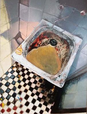 Vorsicht! Frisch gestrichen, 2000, Öl, Leinwand, 130 x 97 cm