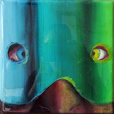 Maske, 2016, Öl, Leinwand, Epoxidharz, 18 x 18 cm