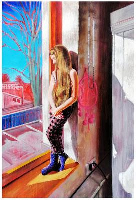 Lockdown, 2021,  Öl , Pastelkreide, Baumwollpapier,  100 x 65 cm