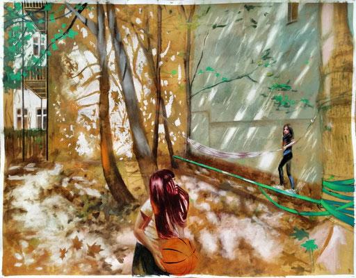 Sommer in der Stadt, 2020  Öl, Baumwollpapier,  100 x 130 cm