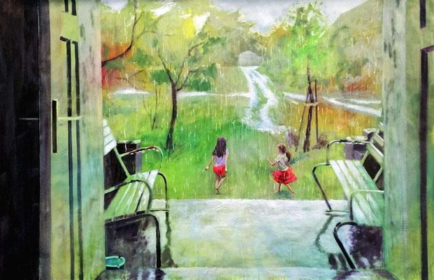 Pehlitz im Regen, 2020, Öl, Papier 150 x 100 cm