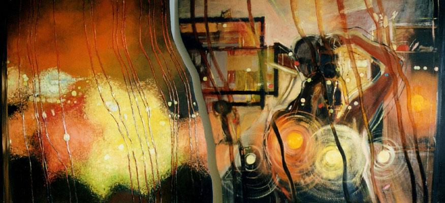 Fenster, II Teile, 2000, Öl, Leinwand, Holz, 240 x 107 cm