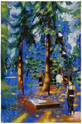 Geburtstag II, 2020, Pastelkreide, Öl, Baumwollpapier, 100 x 65 cm