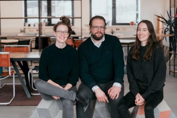 Die Gründer v.l.n.r.:  Klaudia Bachinger, Martin Melcher und Carina Roth