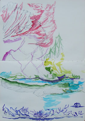 Mittagseite. acuarela y grafito sobre papel (moleskine), 42 x 29 cm aprox.