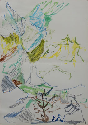 Abendseite. acuarela y grafito sobre papel (moleskine), 42 x 29 cm aprox.